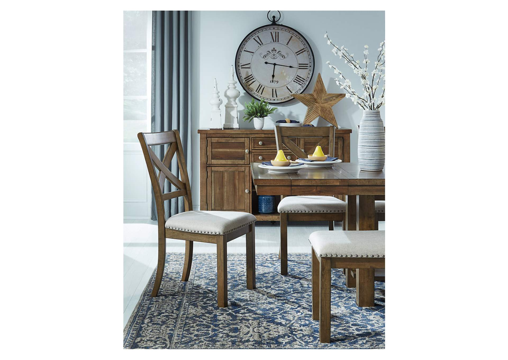 Moriville Beige Dining Table w/4 Side Chairs & Bench,Signature Design By Ashley
