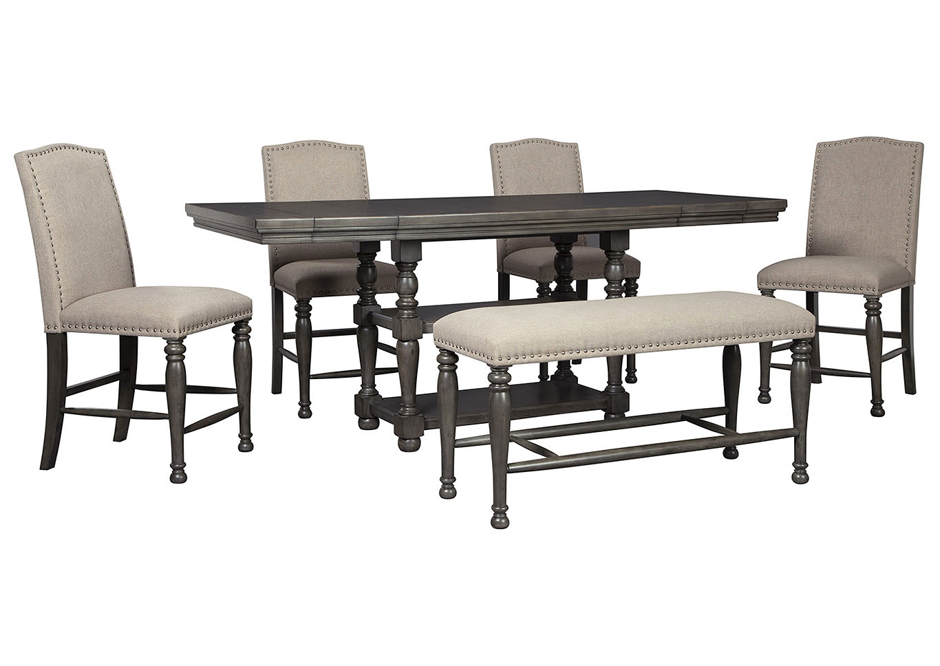 Picture of: Audberry Dining Set W 4 Bar Stools Bench The Furniture Shop Duncanville Tx