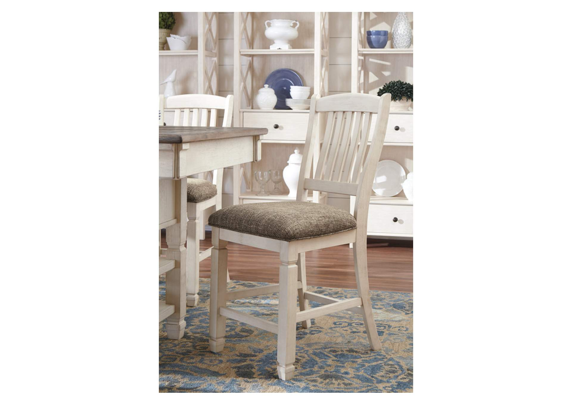 Bolanburg Antique White Upholstered Barstool (Set of 2),Direct To Consumer Express