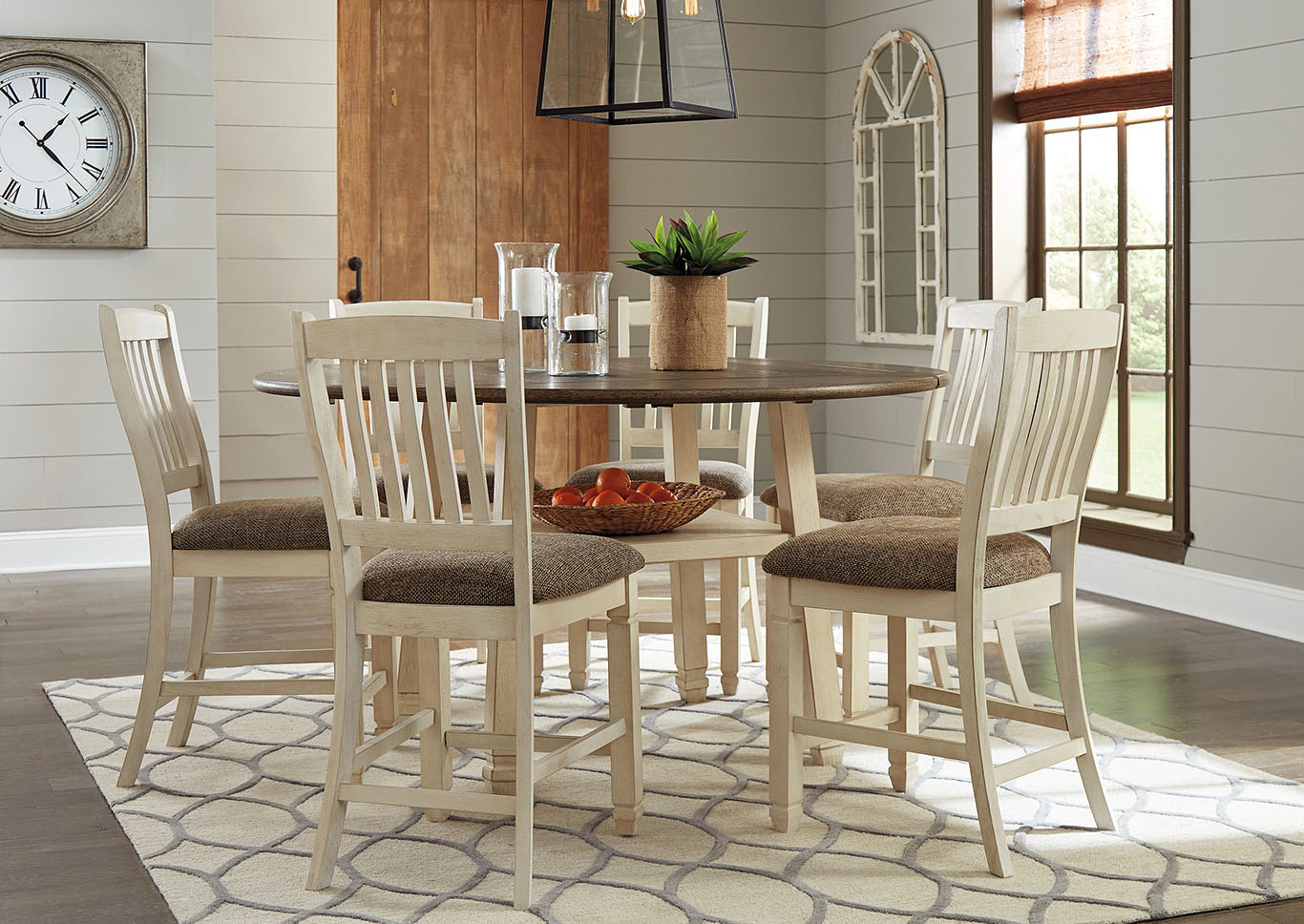 Bolanburg Antique White Round Drop Leaf Counter Table w/6 Upholstered Barstools,Signature Design By Ashley