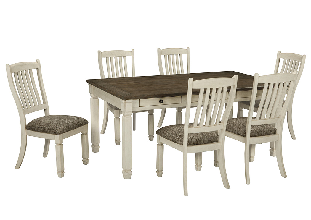 Bolanburg Antique White Rectangular, Dining Room Table With Upholstered Chairs And Bench