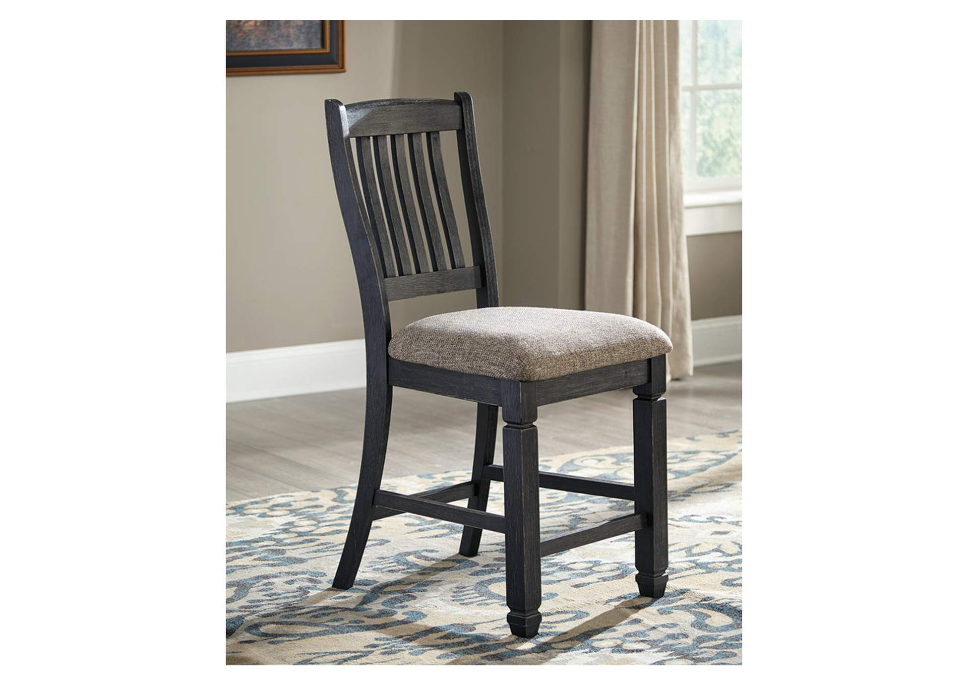 Tyler Creek Black/Grayish Brown Upholstered Barstool (Set of 2),Direct To Consumer Express