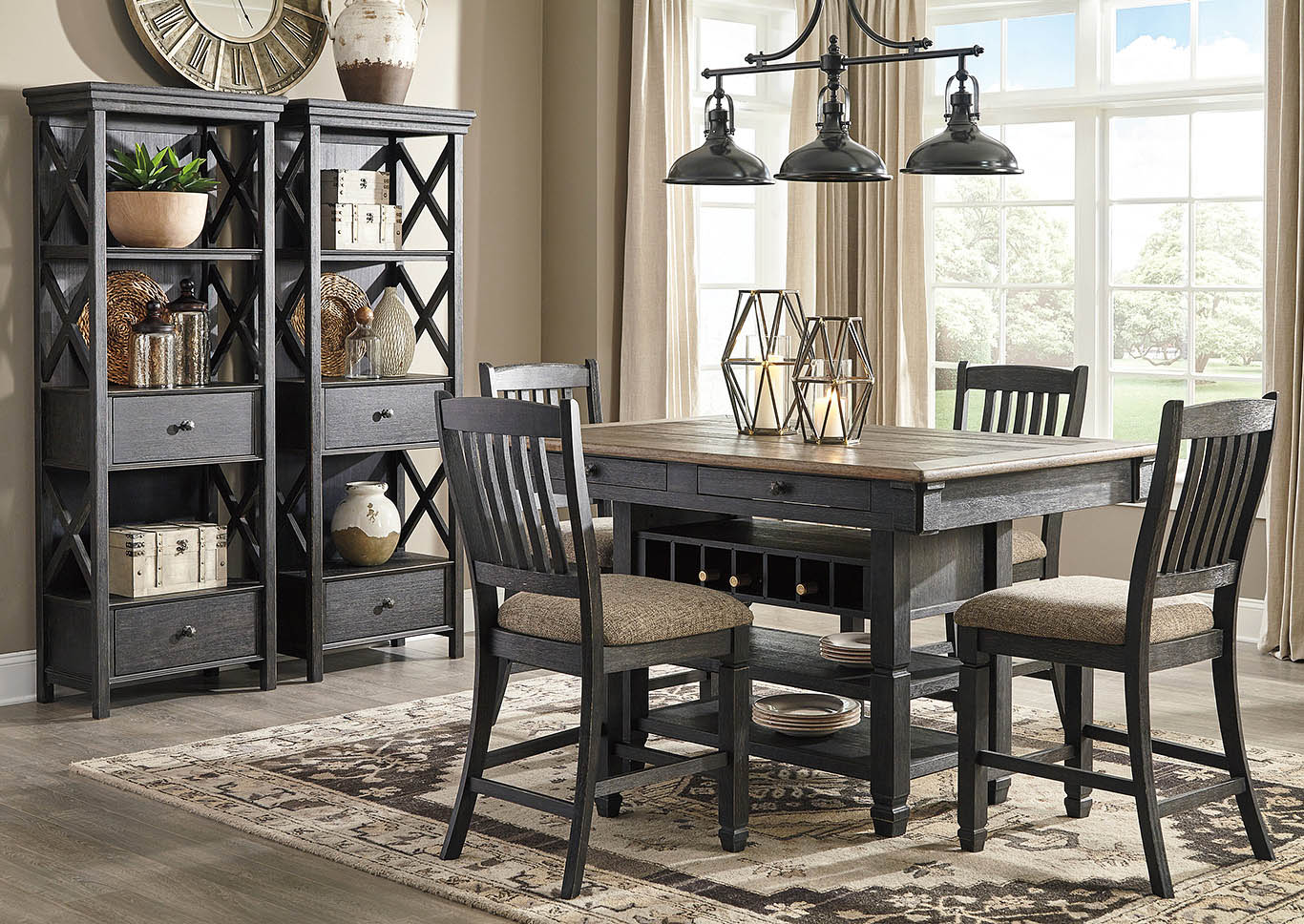 Tyler Creek Black/Grayish Brown 7 Piece Counter Height Dining Set w/4 Counter Height Chairs & 2 Display Cabinets,Signature Design By Ashley