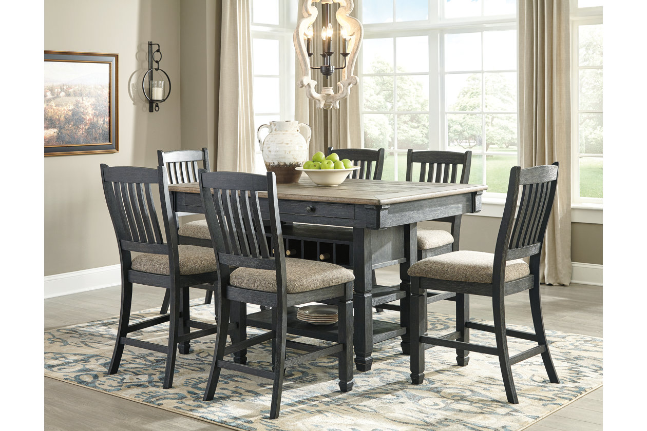 Tyler Creek Counter Height Dining Table and 6 Counter Stools,Signature Design By Ashley