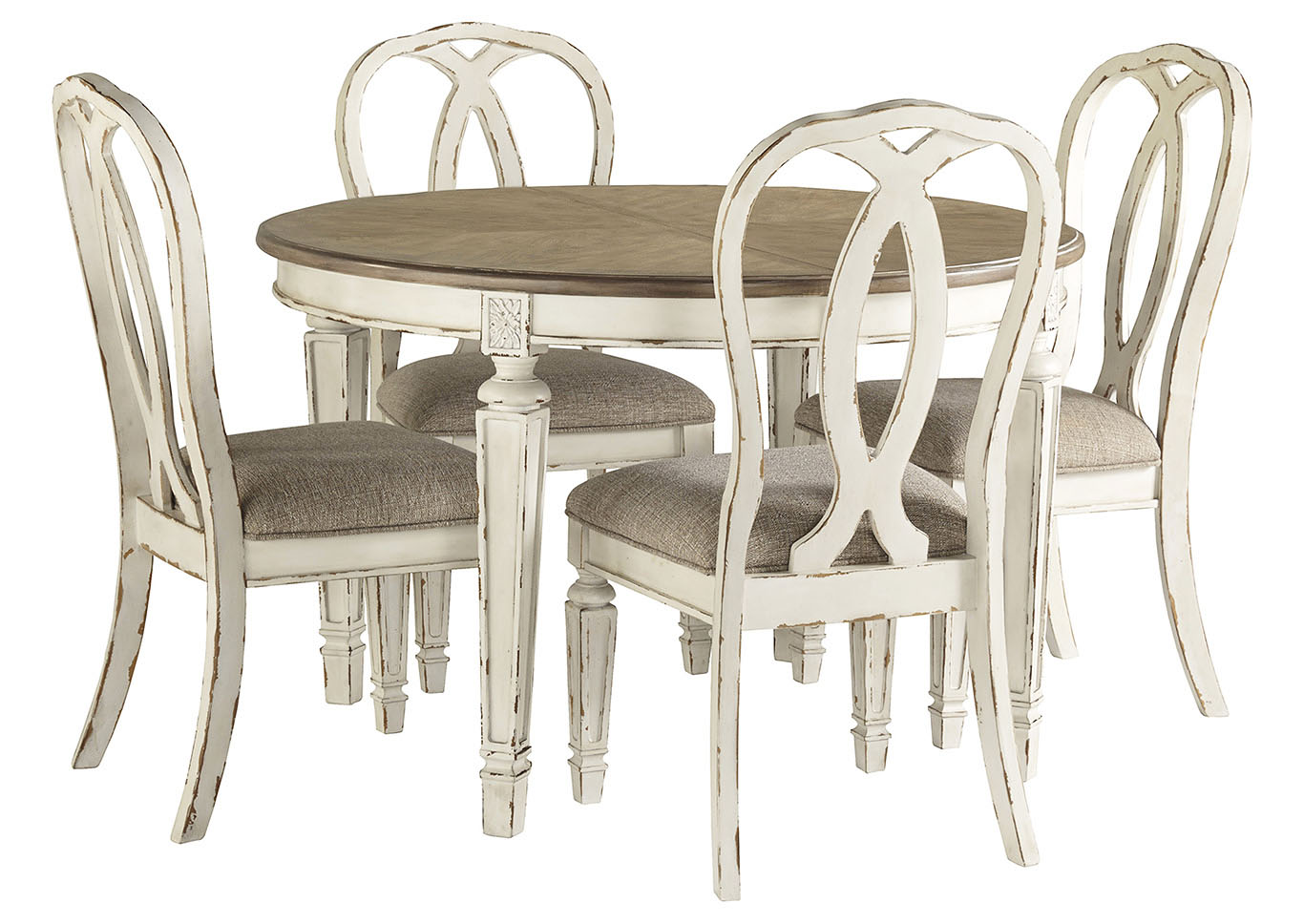 Realyn Chipped White Dining Set w/4 Ribbon Back Side Chairs,Signature Design By Ashley