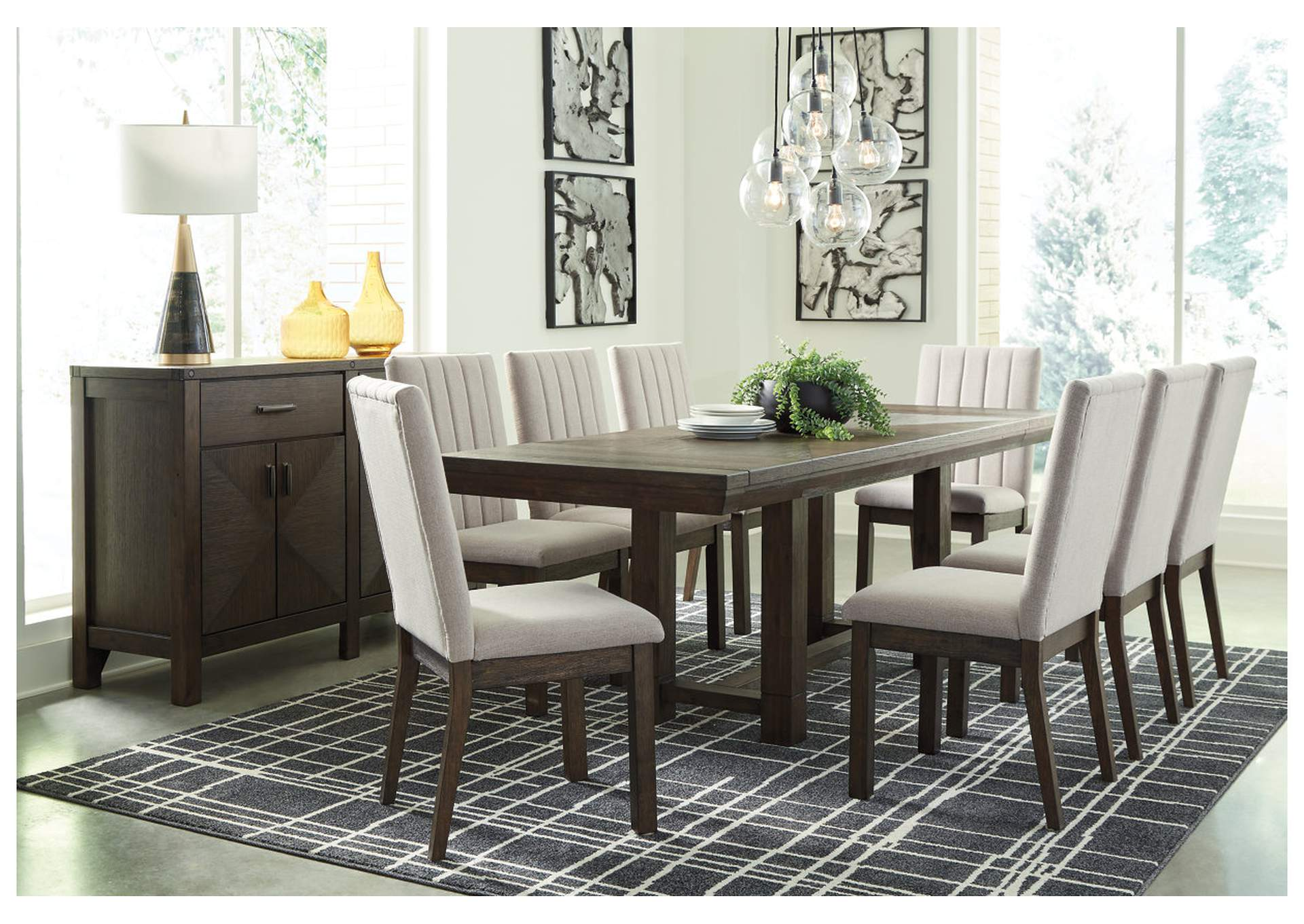 Dellbeck Brown Dining Table w/8 Side Chair,Millennium