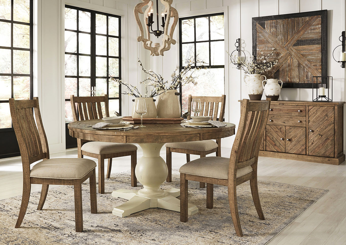 Picture of: Grindleburg Round Dining Table W 4 Brown Side Chairs Ivan Smith