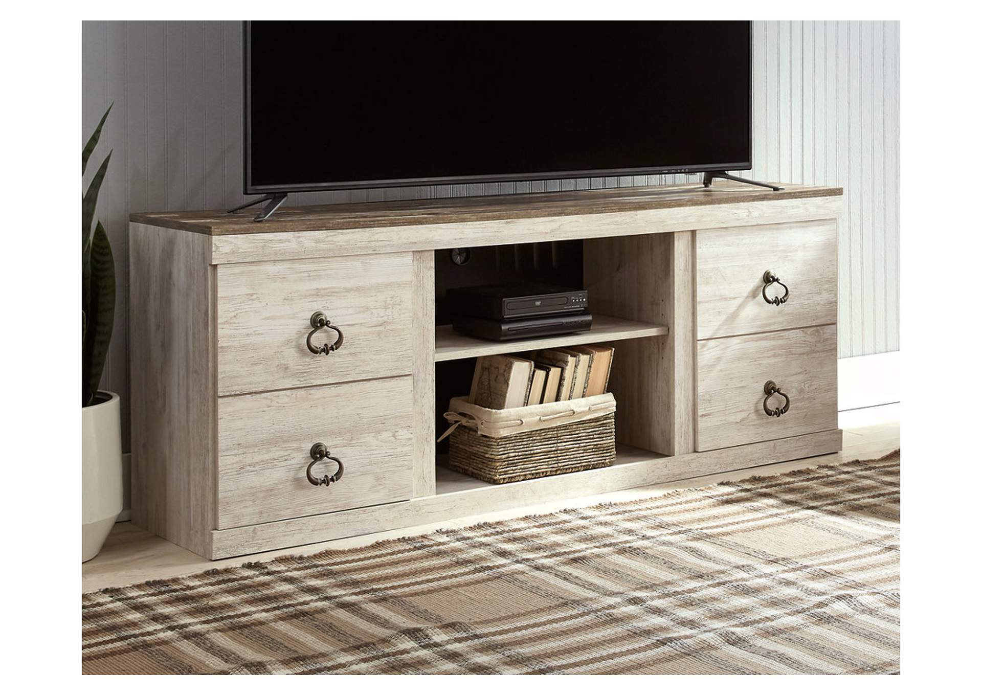 "Willowton Whitewash 63"" TV Stand,Signature Design By Ashley"