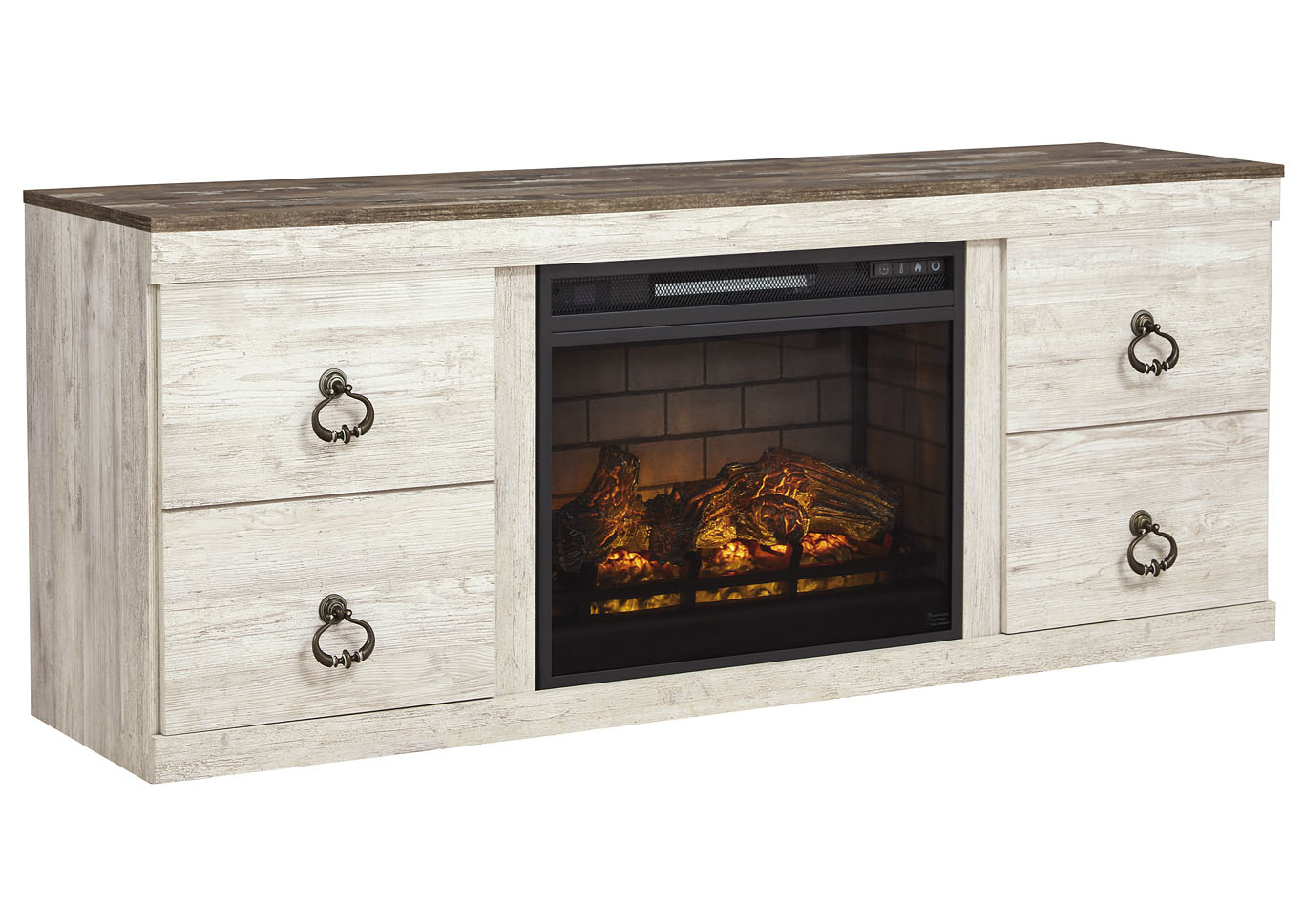 "Willowton Whitewash 63"" TV Stand w/Fireplace Insert Infrared,Signature Design By Ashley"