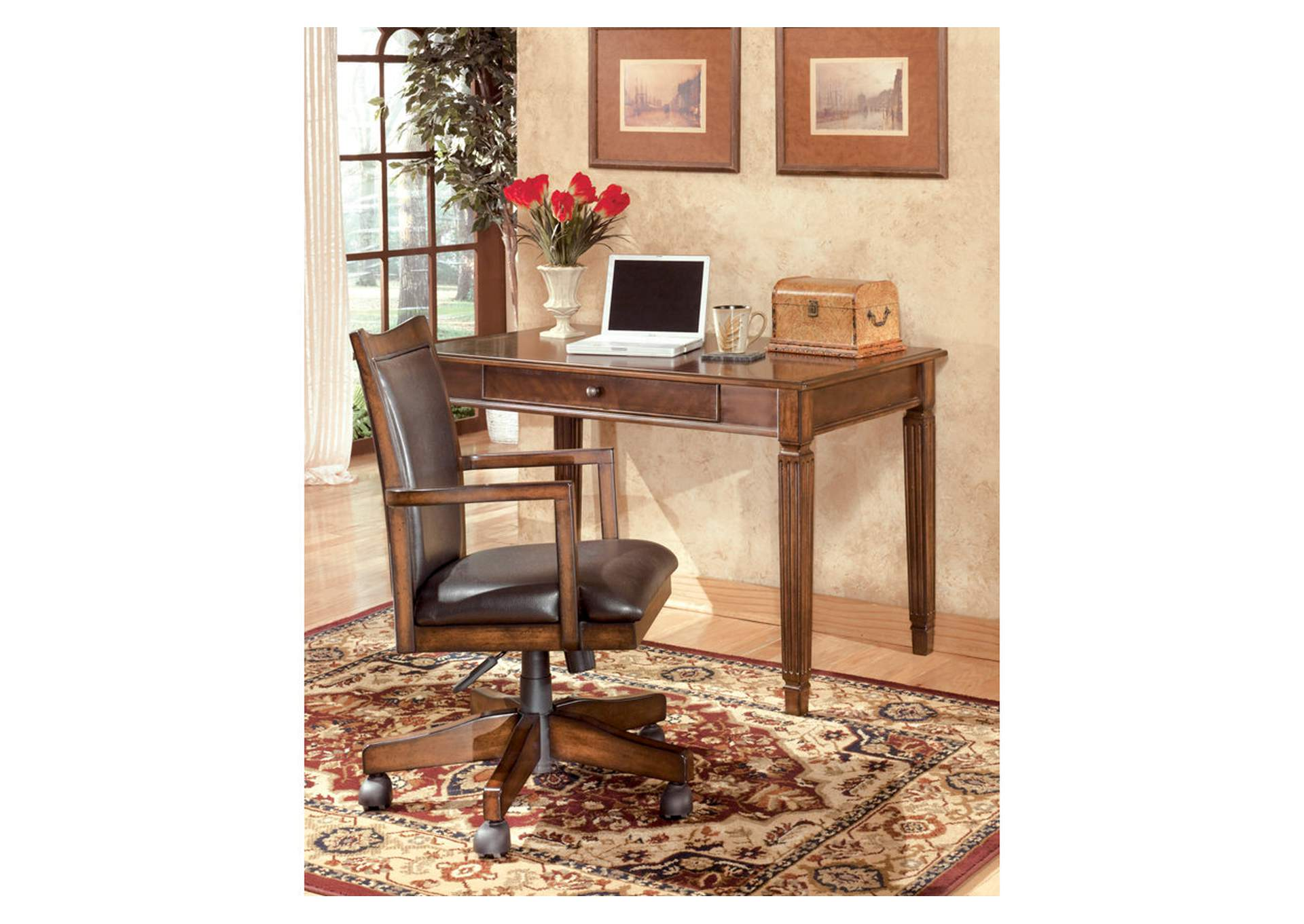 Hamlyn Medium Brown Swivel Desk Chair,Direct To Consumer Express