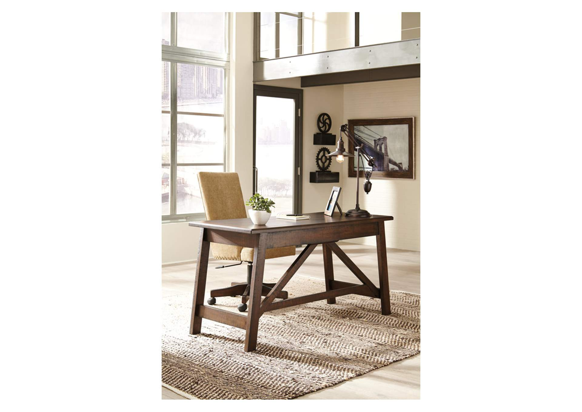 Baldridge Rustic Brown Upholstered Swivel Desk Chair,Signature Design By Ashley