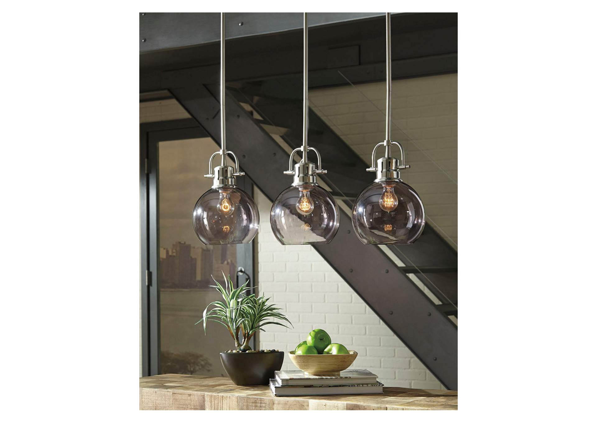 Johano Gray Glass Pendant Light,Signature Design By Ashley