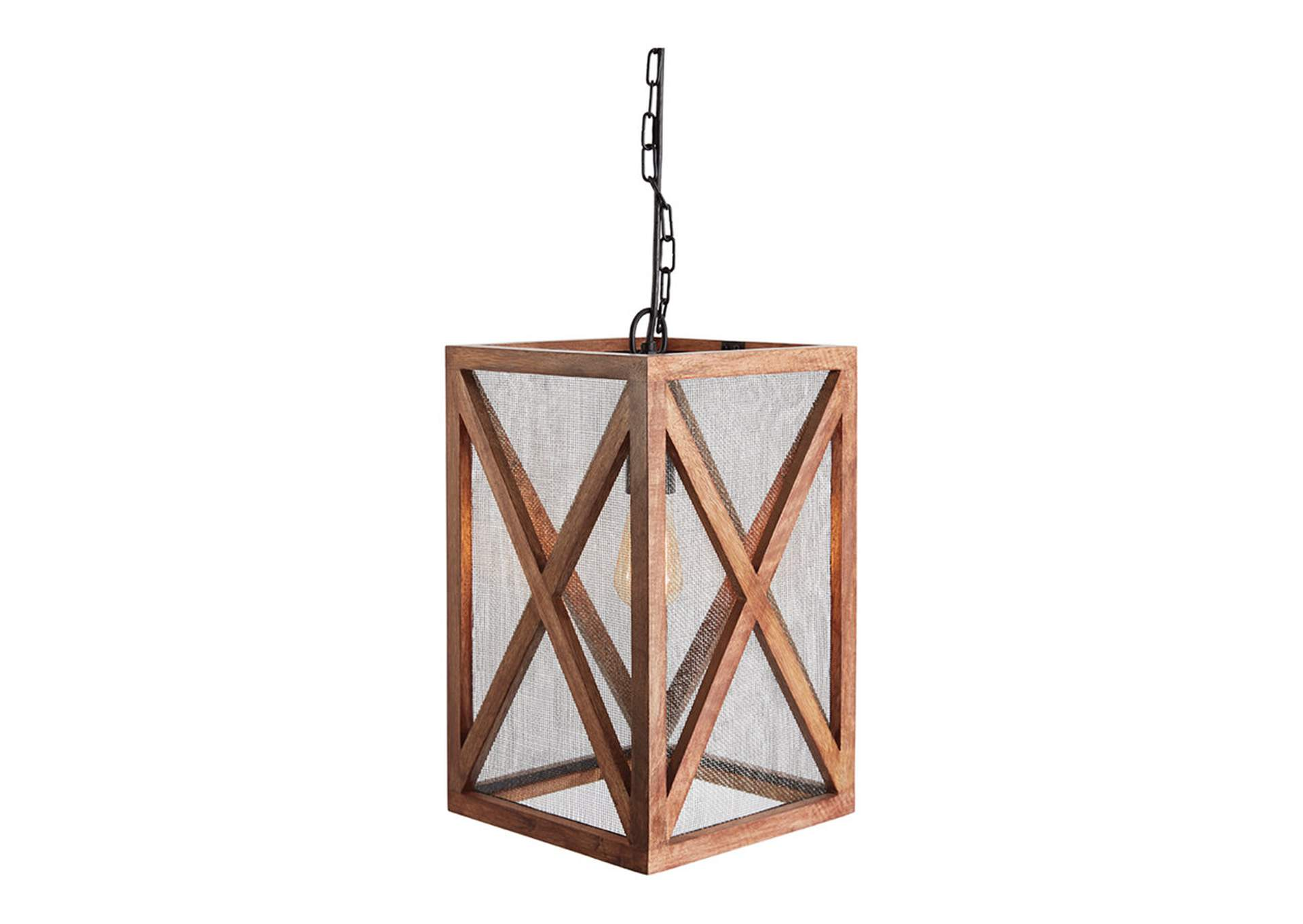 Jodene Brown Wood Pendant Light,Signature Design By Ashley