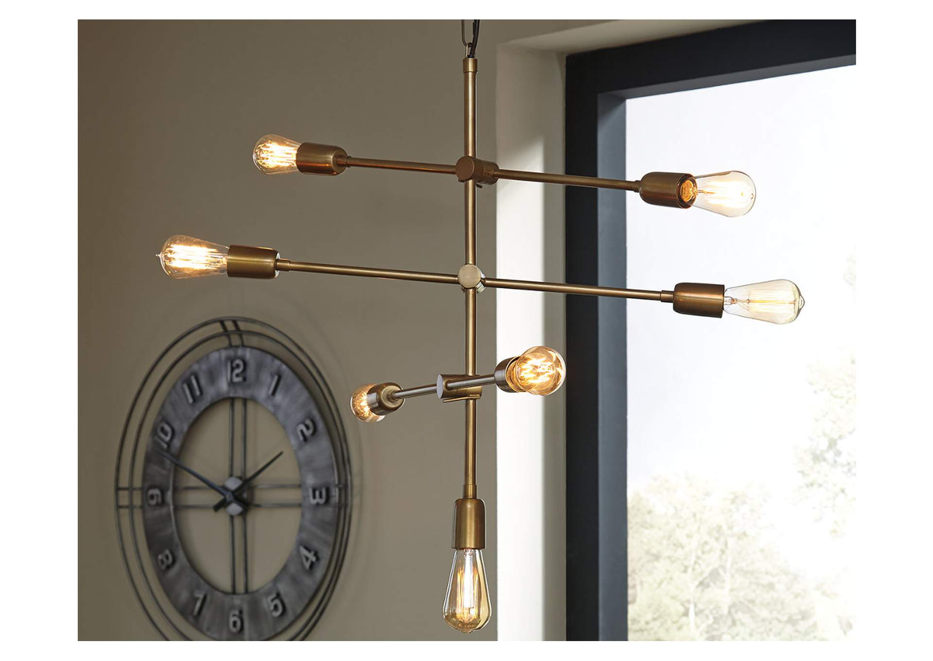Nastalya Gold Finish Metal Pendant Light,Direct To Consumer Express