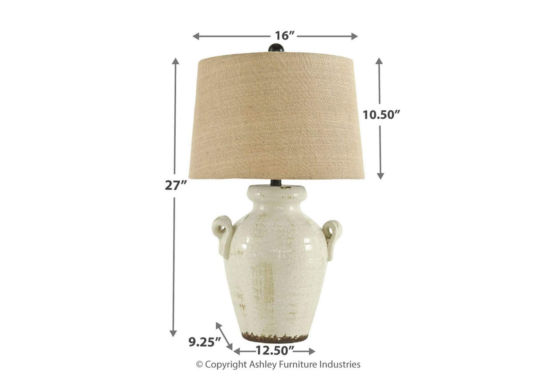 Emelda Cream Ceramic Table Lamp,Direct To Consumer Express