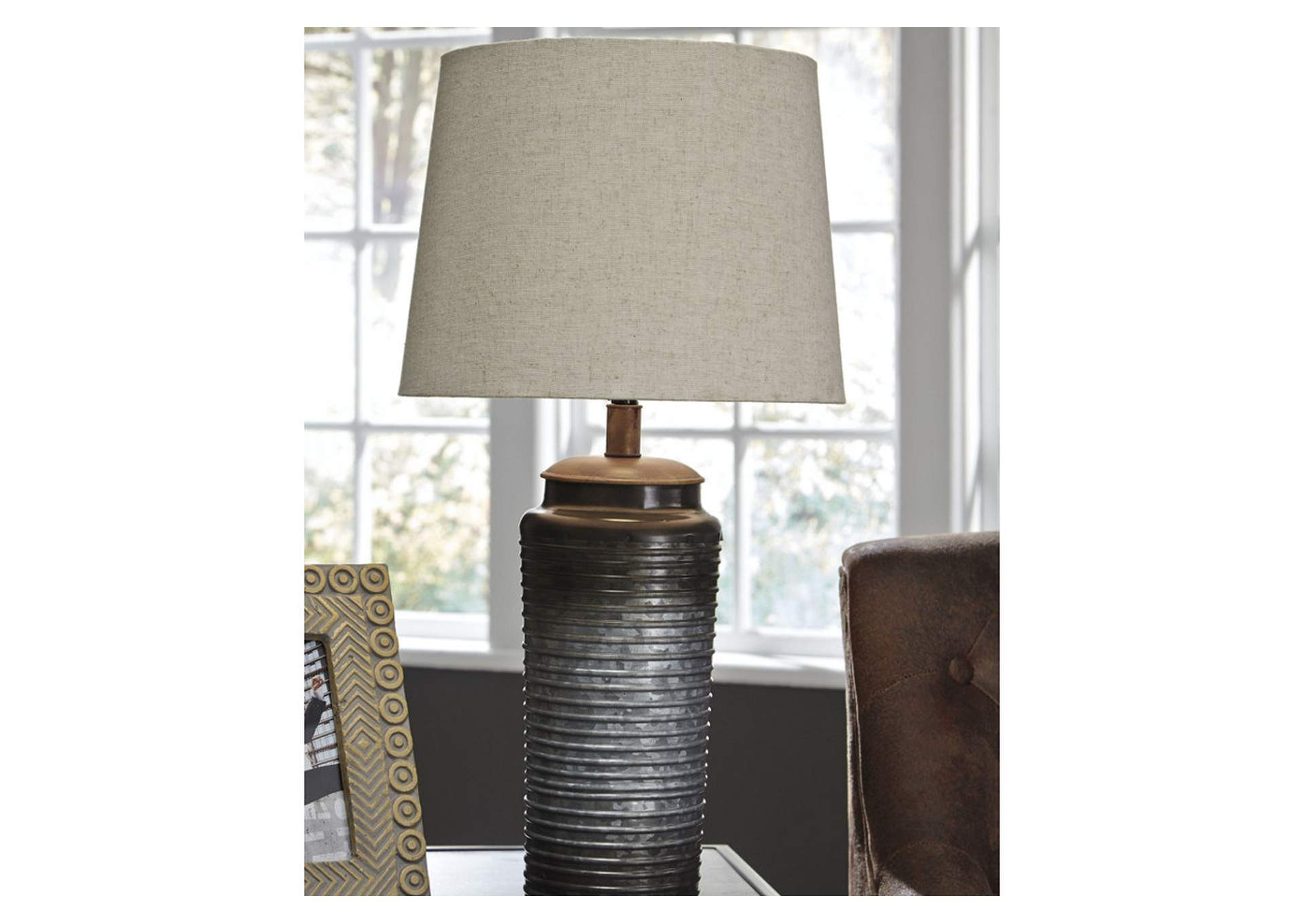 Norbert Gray Metal Table Lamp (2/CN),Signature Design By Ashley