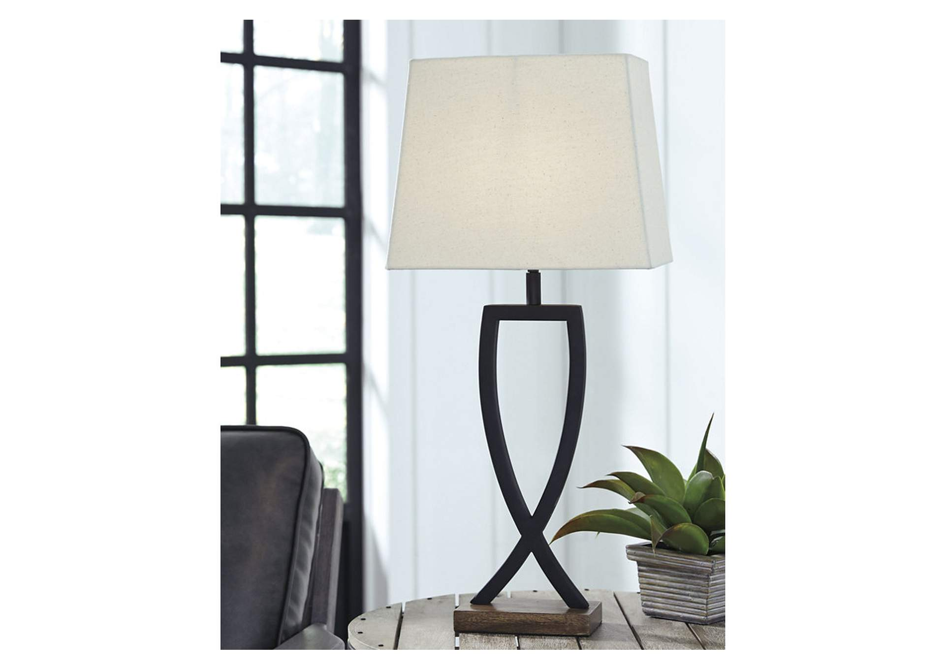 Makara Black/Brown Metal Table Lamp (2 Per Set),Direct To Consumer Express