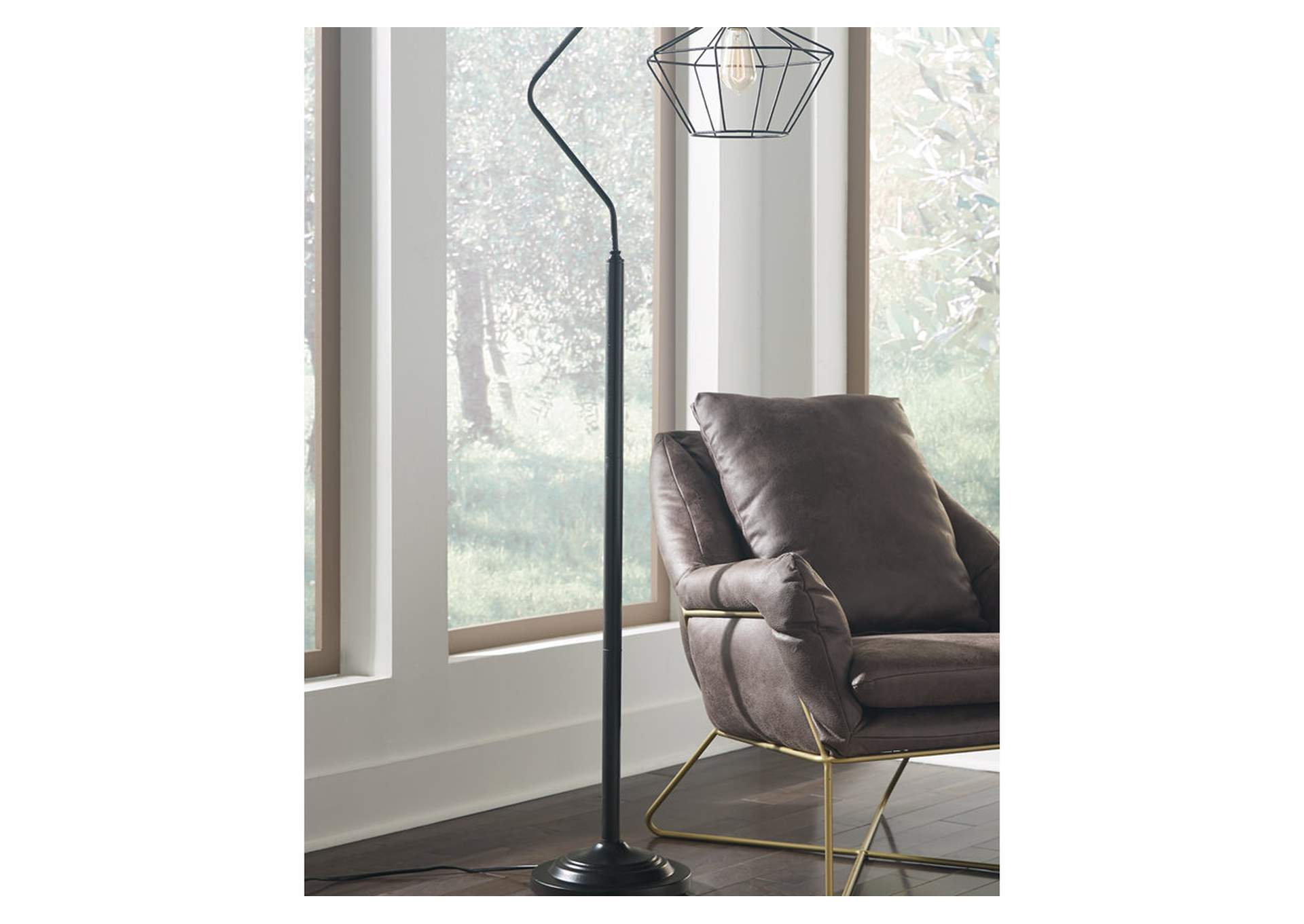Makeika Black Metal Floor Lamp,Signature Design By Ashley