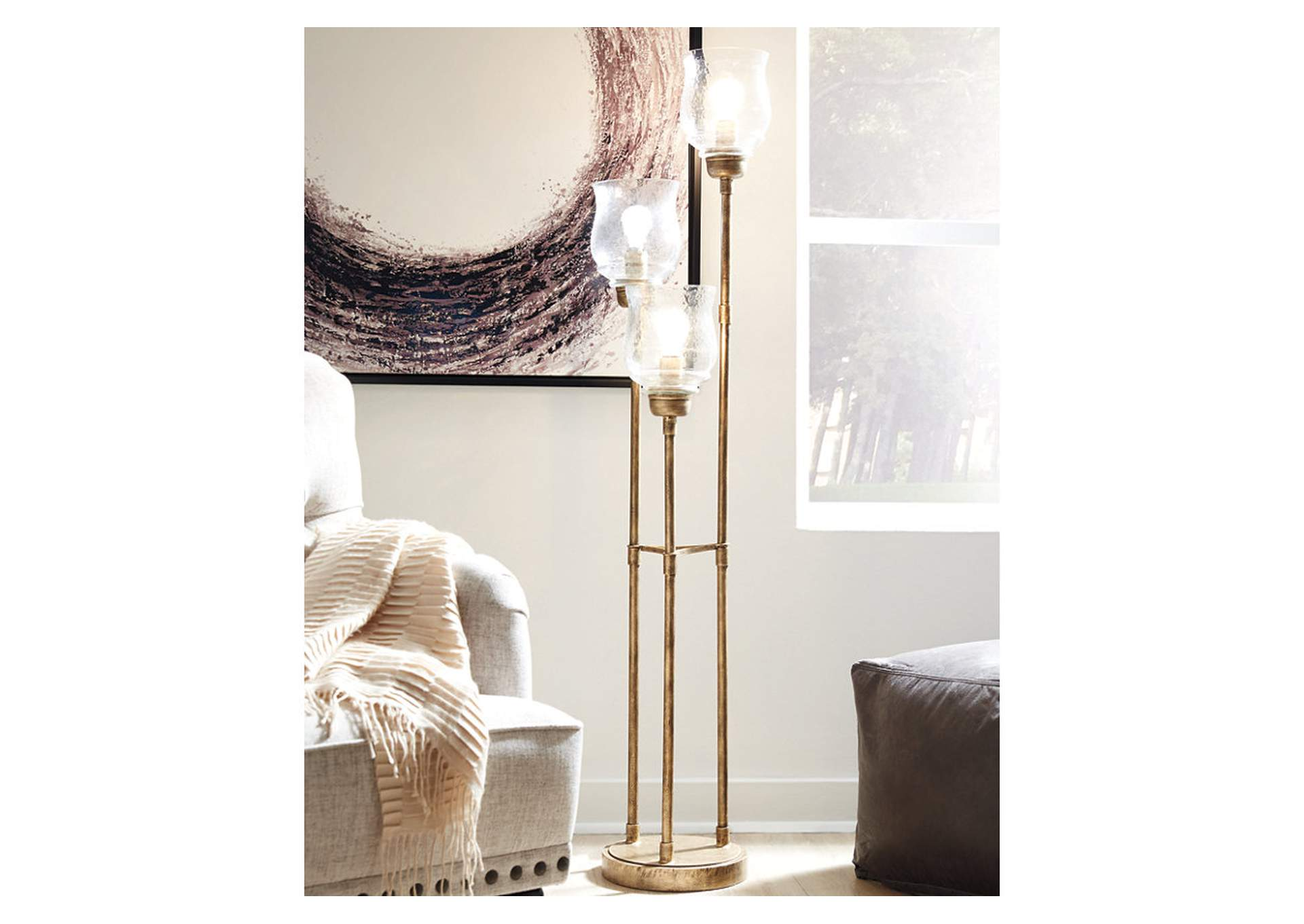 Emmie Gold Floor Lamp,Signature Design By Ashley