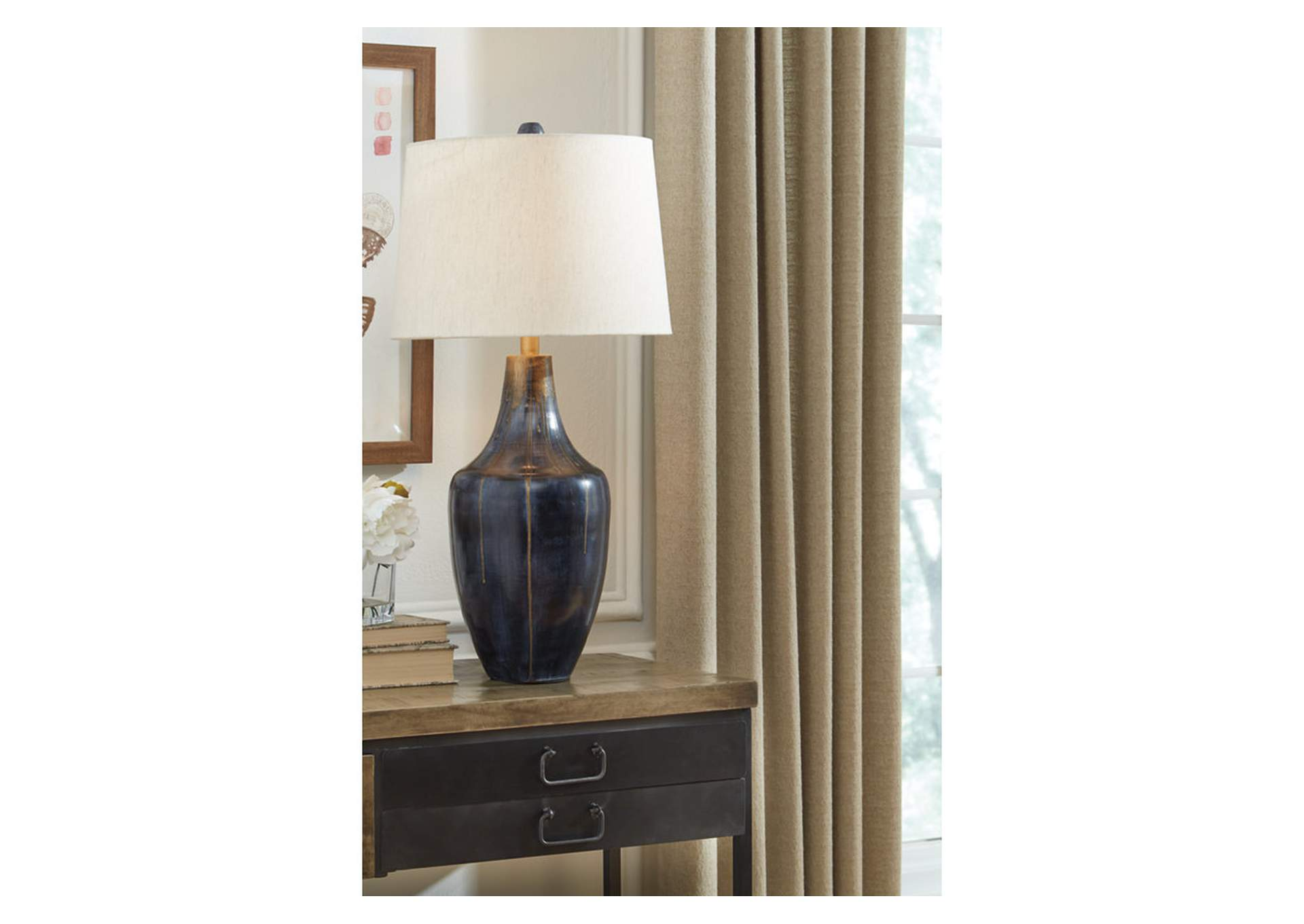 Evania Indigo Table Lamp,Signature Design By Ashley