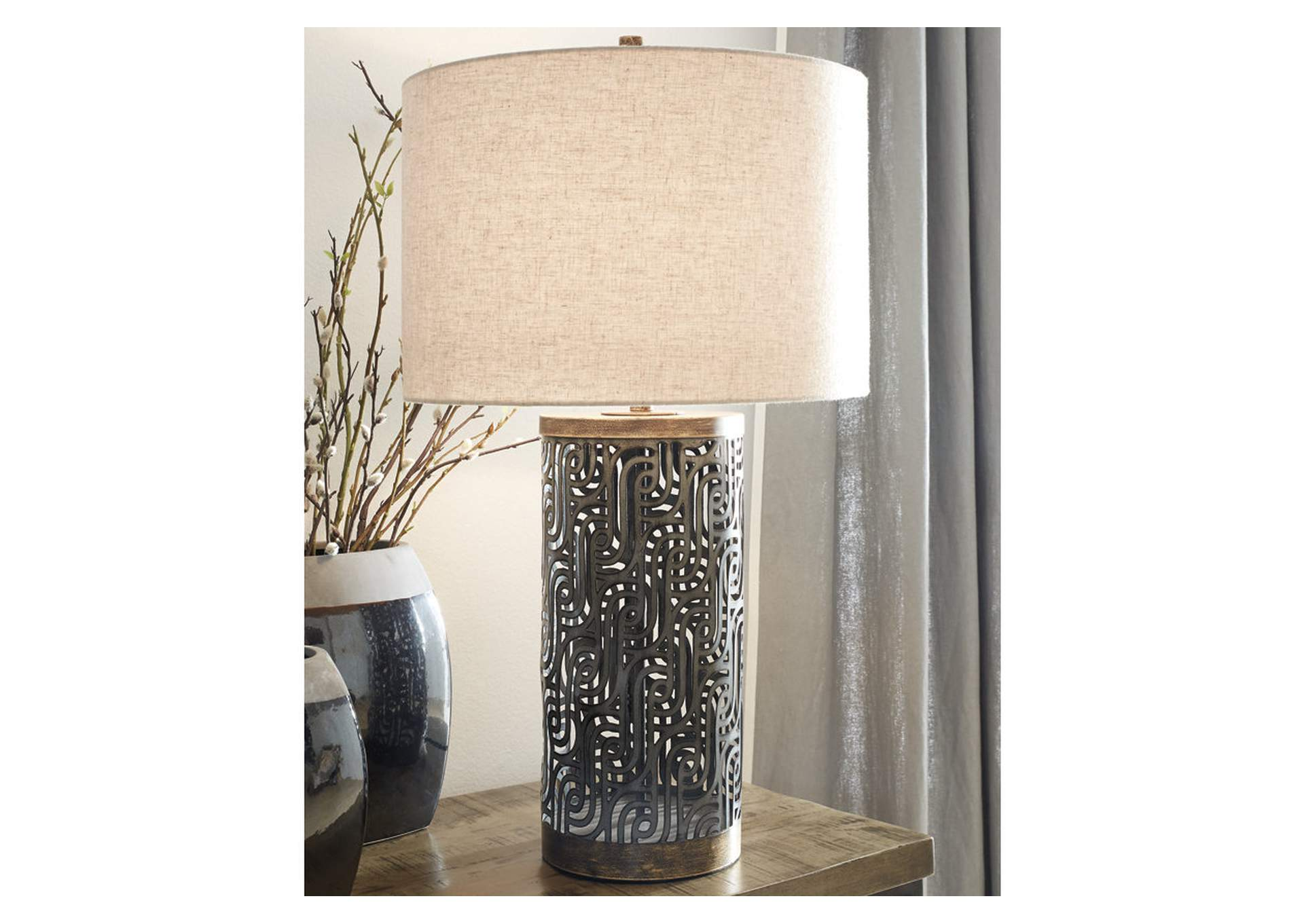 Dayo Gray/Gold Table Lamp,Signature Design By Ashley