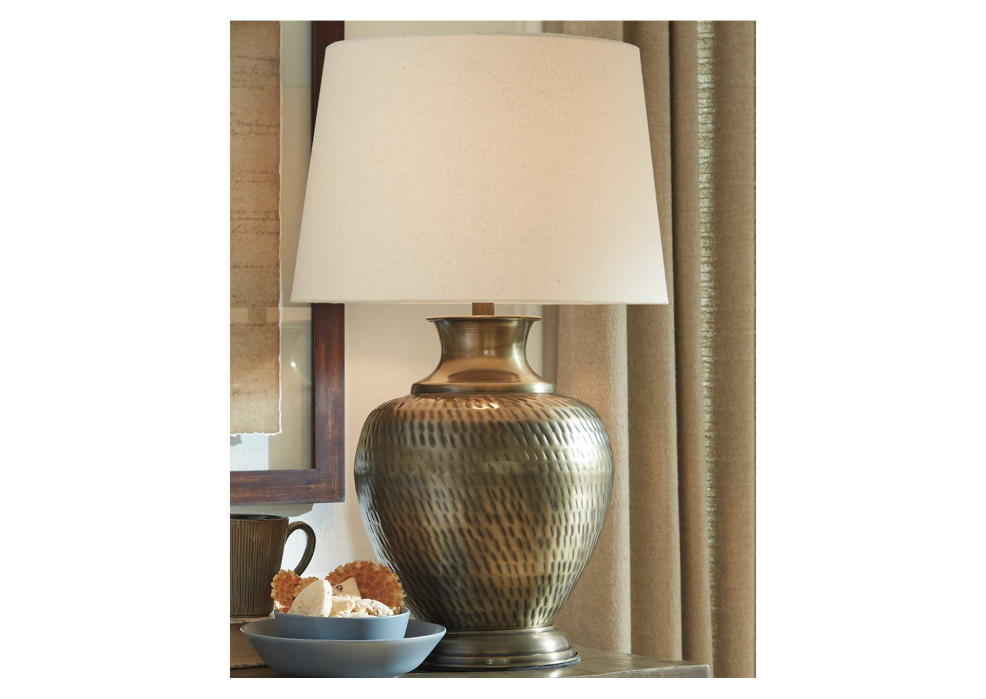 Eviana Brass Table Lamp,Signature Design By Ashley