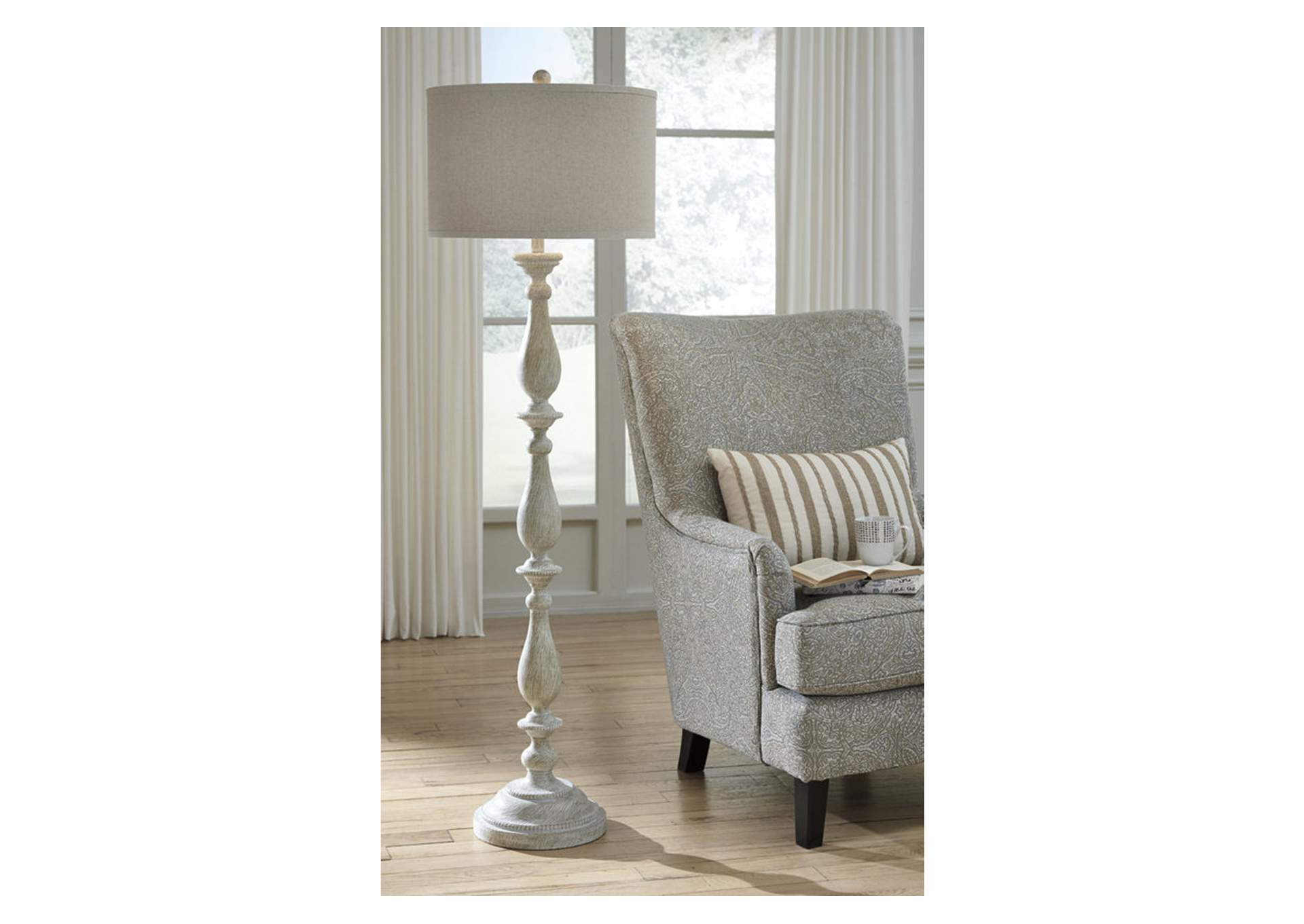 Bernadate Whitewash Poly Floor Lamp,Direct To Consumer Express