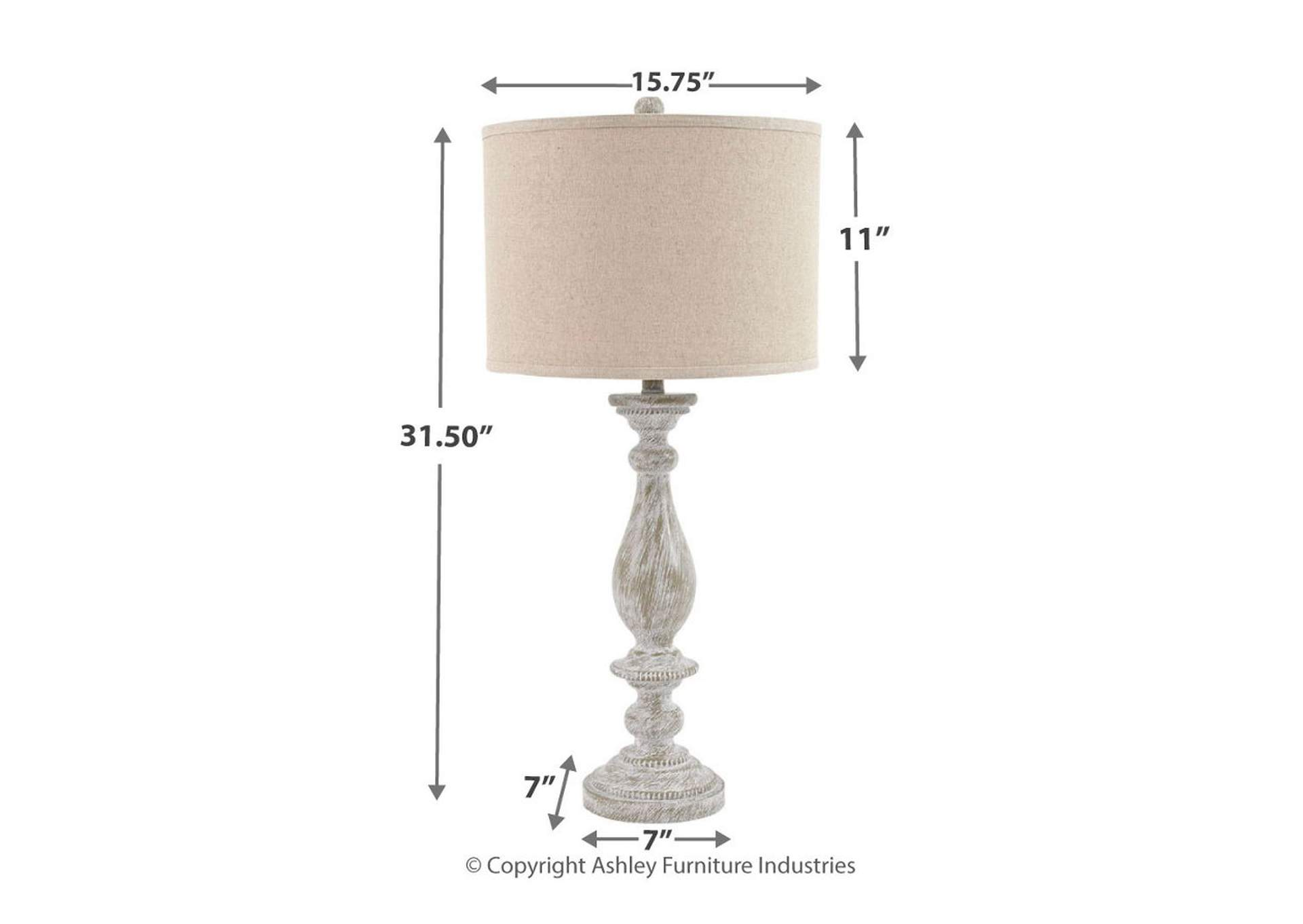 Bernadate Whitewash Poly Table Lamp (Set of 2),Direct To Consumer Express