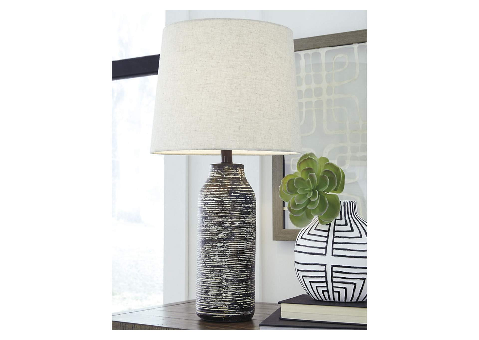 Mahima Black/White Paper Table Lamp (2/CN),Signature Design By Ashley
