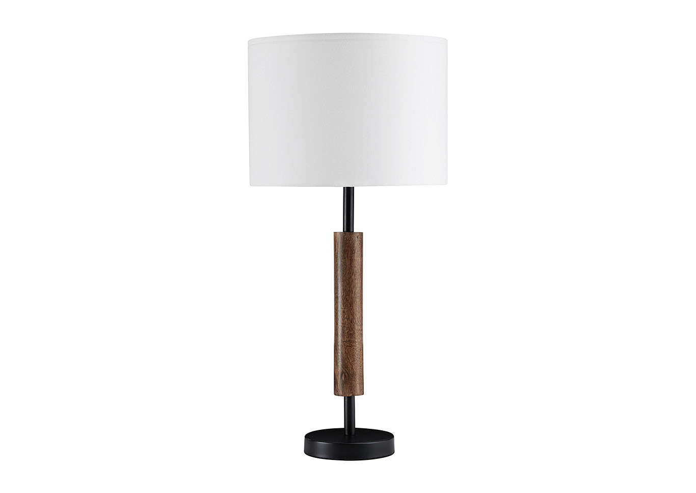 Maliny Black/Brown Wood Table Lamp (2/CN),Signature Design By Ashley