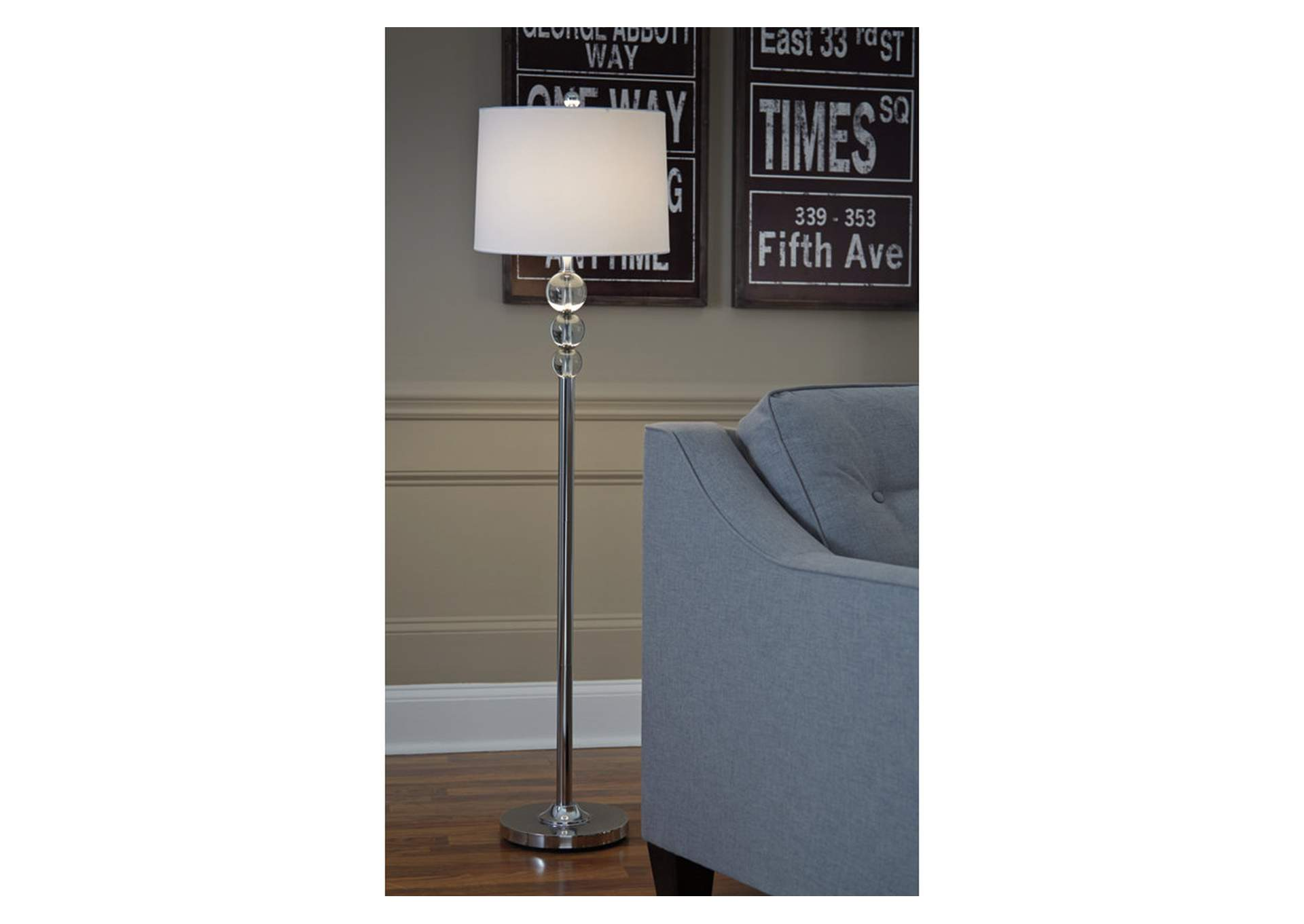 Joaquin Clear/Chrome Finish Crystal Floor Lamp,Direct To Consumer Express