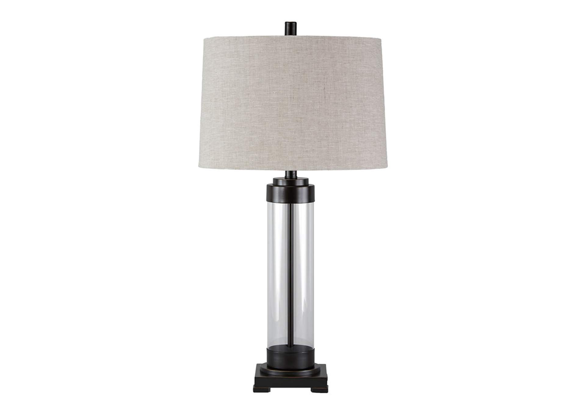 Talar Clear/Bronze Finish Glass Table Lamp,Direct To Consumer Express