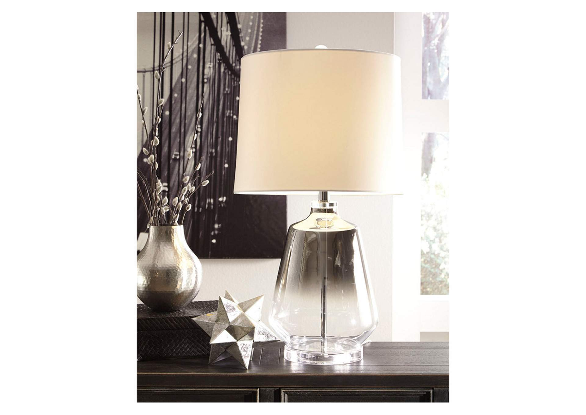Jaslyn Silver Finish Glass Table Lamp,Direct To Consumer Express