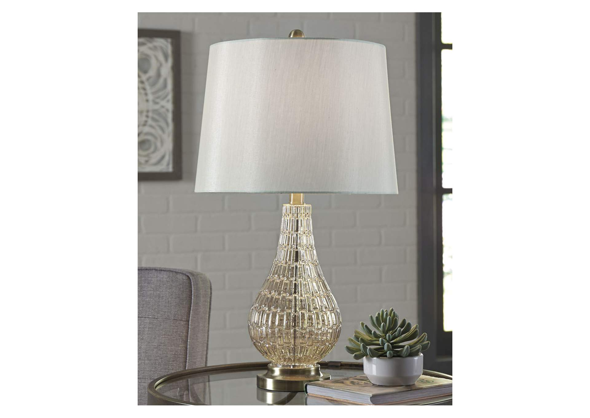 Latoya Champagne Glass Table Lamp,Signature Design By Ashley