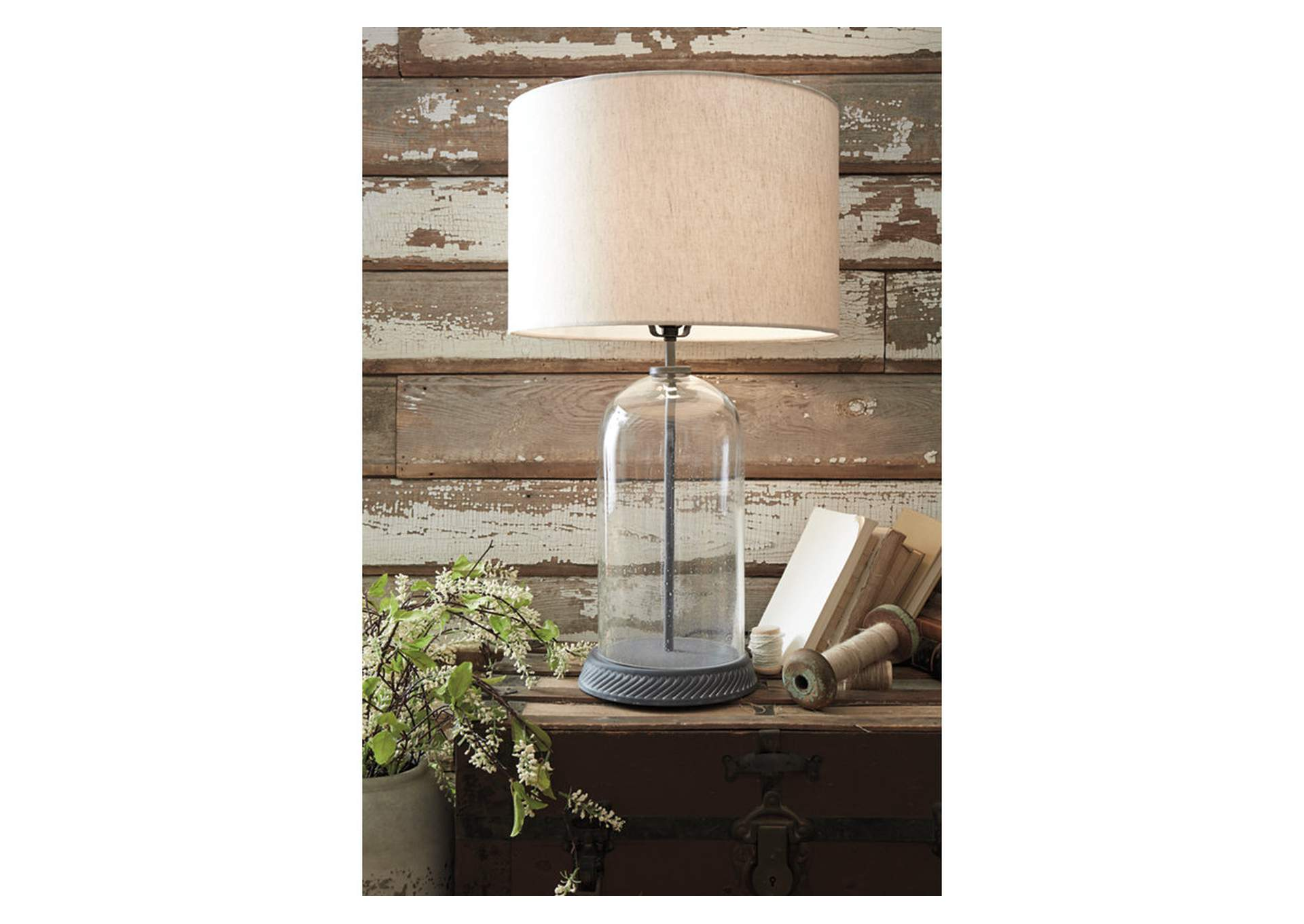Manelin Gray Glass Table Lamp,Signature Design By Ashley