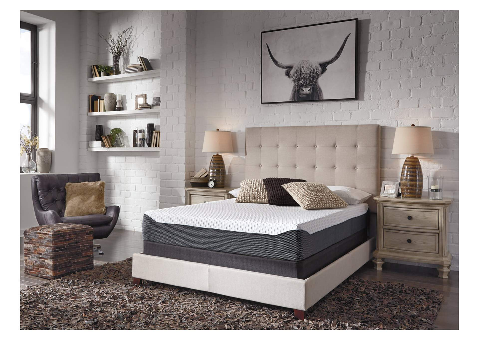 10 Inch Chime Elite Twin Memory Foam Mattress in a box w/Foundation,Sierra Sleep by Ashley