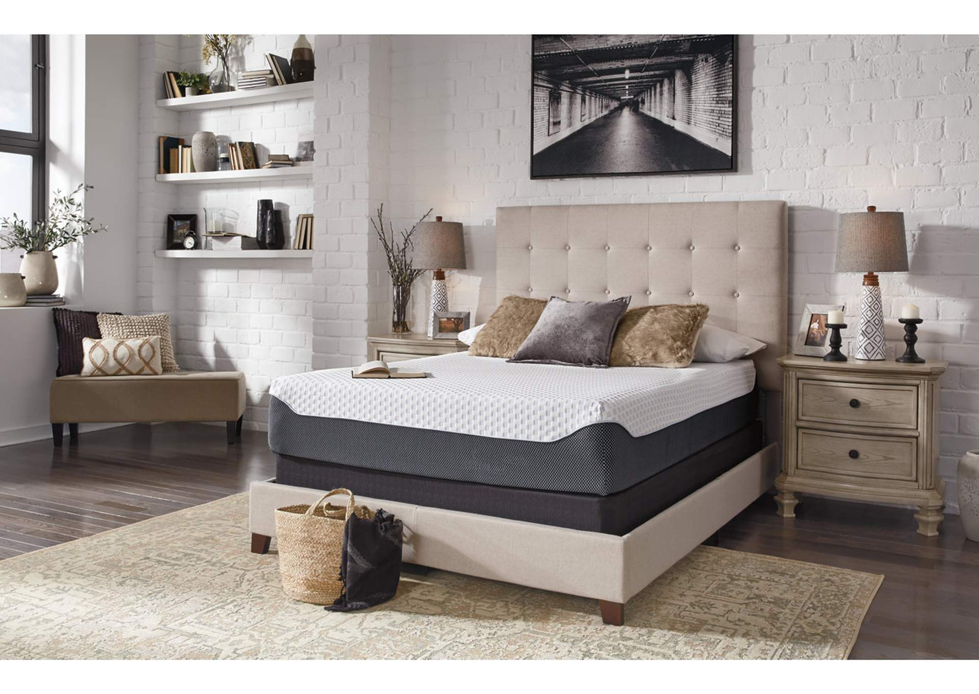 12 Inch Chime Elite Queen Memory Foam Mattress in a box w/Foundation,Sierra Sleep by Ashley