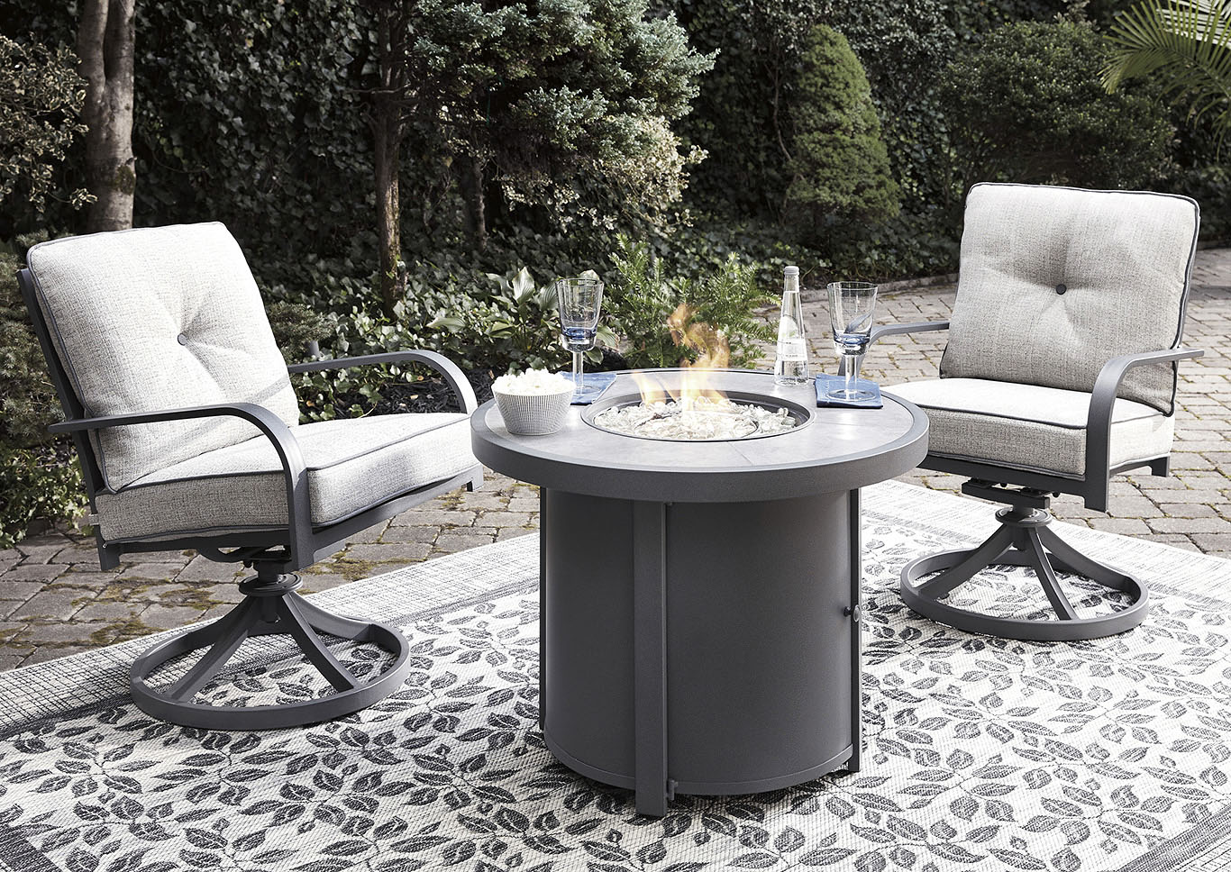 Donnalee Bay Gray Fire Pit Table w/2 Swivel Chairs,Outdoor By Ashley