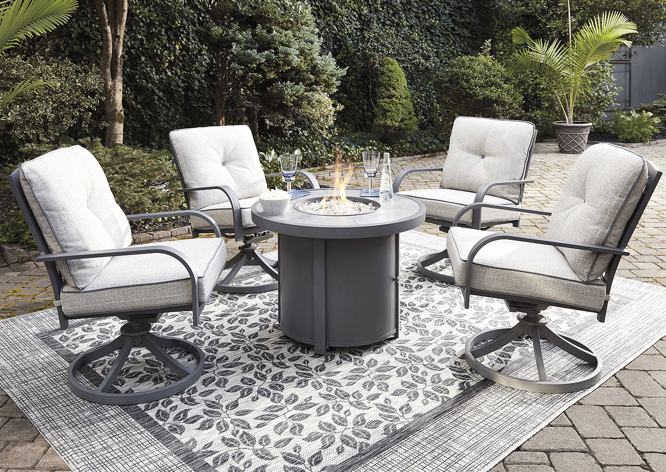 Donnalee Bay Gray Fire Pit Table w/4 Swivel Chairs,Outdoor By Ashley