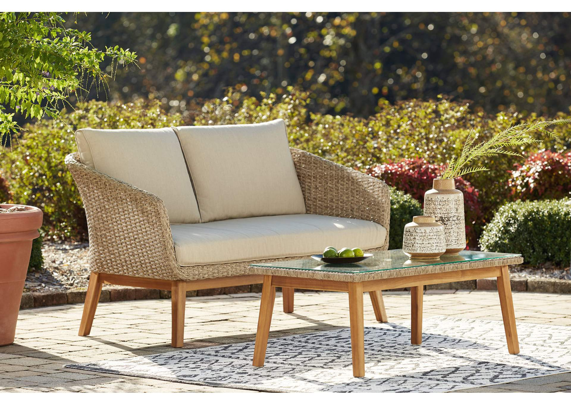 Crystal Cave Outdoor Loveseat with Table (Set of 2),Outdoor By Ashley