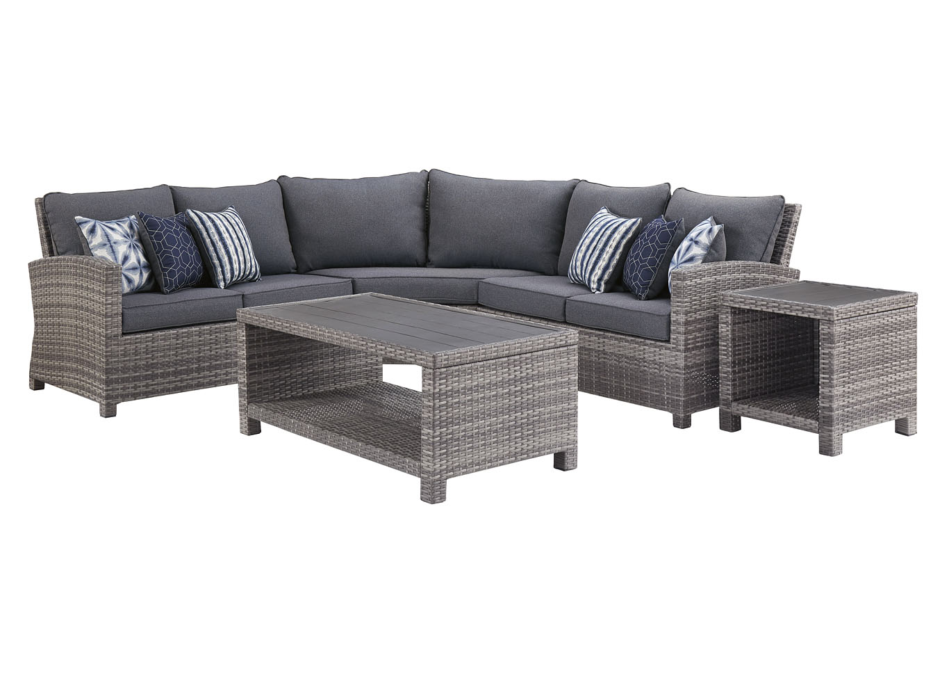 Salem Beach Gray 3 Piece Sectional w/End and Coffee Table,Outdoor By Ashley
