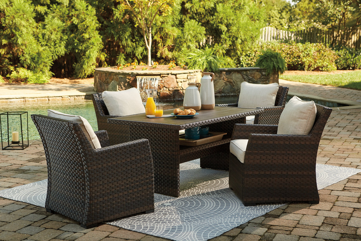 Easy Isle Dark Brown/Beige Table w/4 Lounge Chair,Outdoor By Ashley