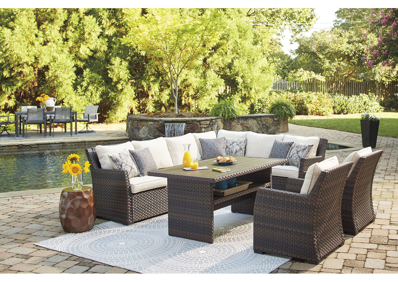 Easy Isle Dark Brown/Beige Multi-Use Table w/Sectional and 2 Lounge Chair,Outdoor By Ashley