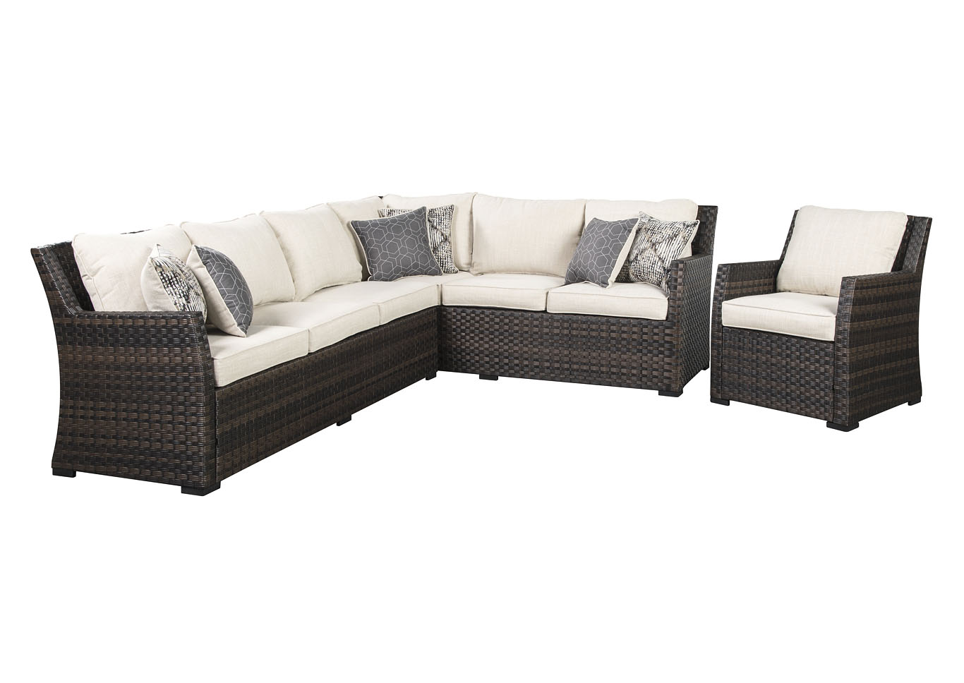 Easy Isle Dark Brown/Beige Sectional and Lounge Chair w/Cushion,Outdoor By Ashley