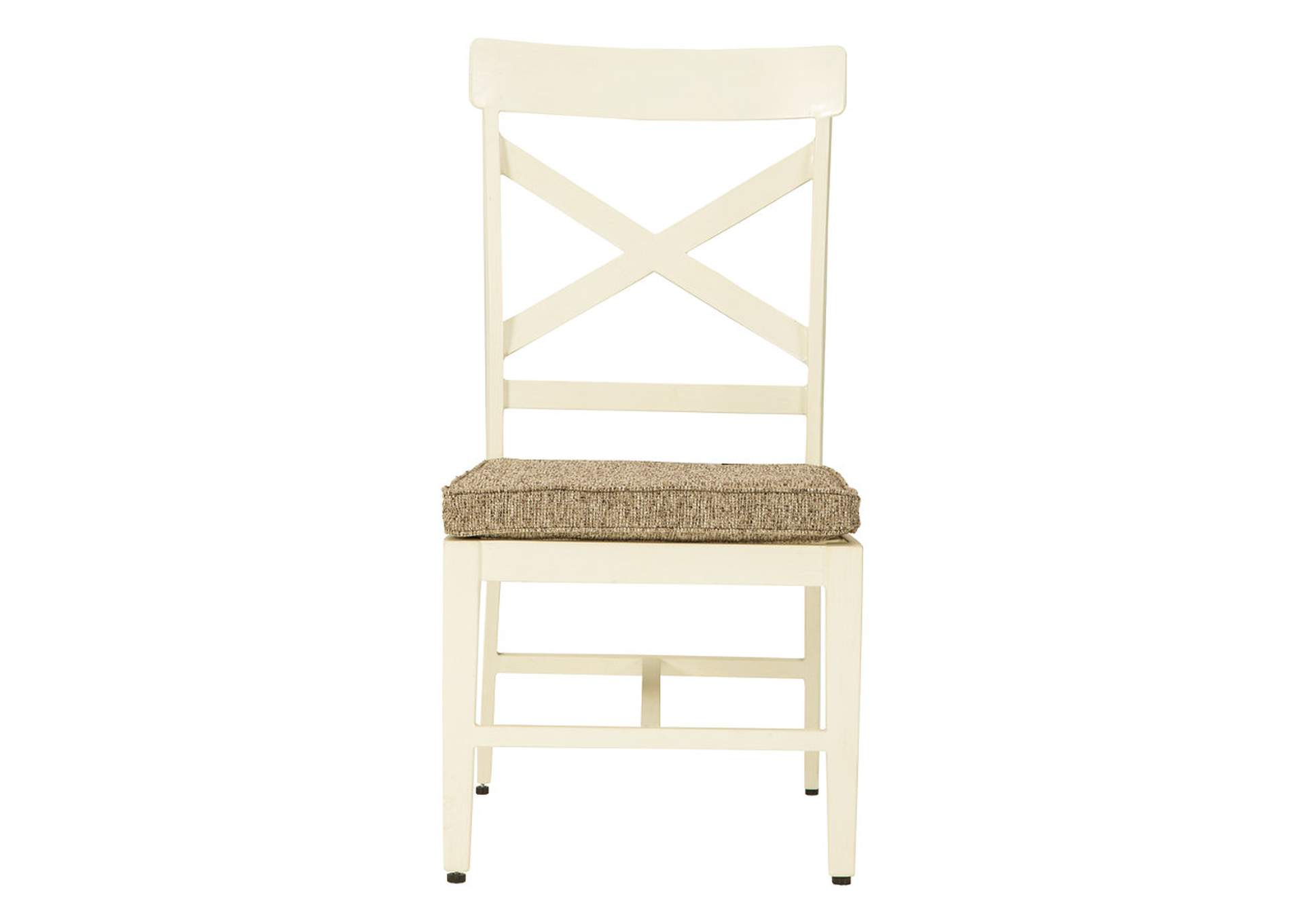 Preston Bay Antique White Chair with Cushion (Set of 2),Outdoor By Ashley