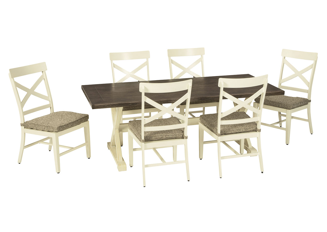 Preston Bay Antique White Dining Table w/6 Chair and Umbrella Option,Outdoor By Ashley