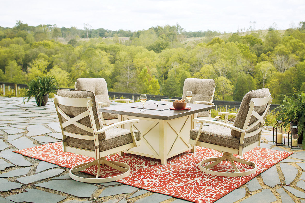 Preston Bay Antique White Fire Pit Table w/2 Swivel Lounge,Outdoor By Ashley