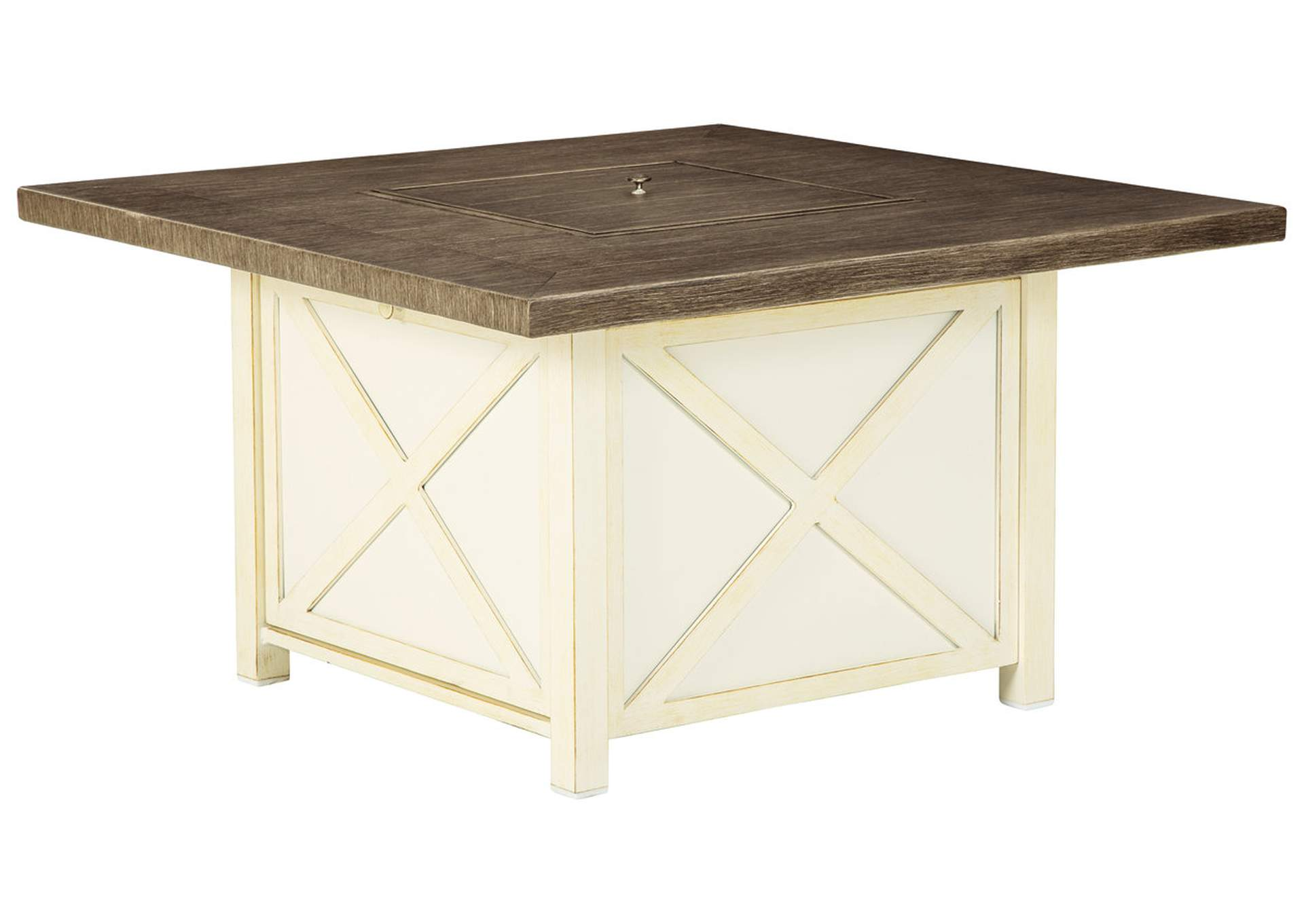 Preston Bay Antique White Fire Pit Table,Outdoor By Ashley