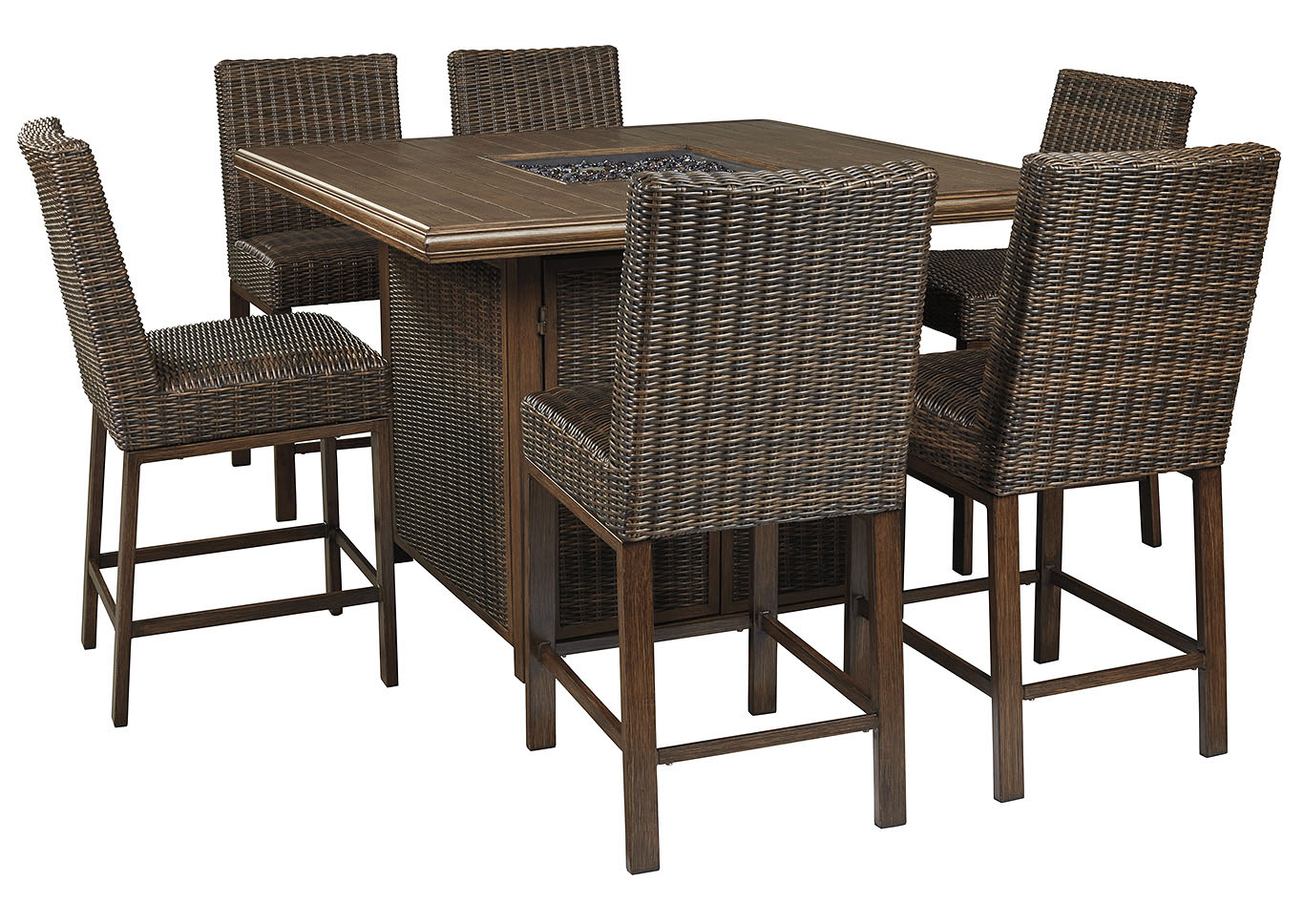 Paradise Trail Brown Bar Table w/6 Barstools,Outdoor By Ashley