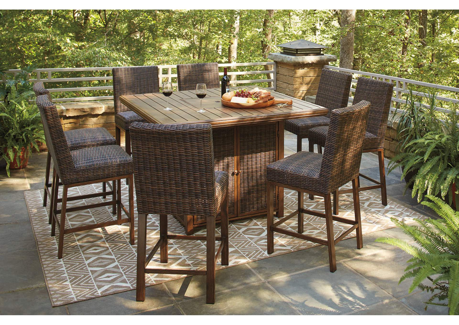 Paradise Trail Brown Bar Table w/8 Barstools,Outdoor By Ashley